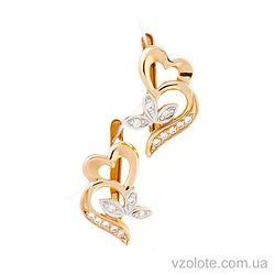 Золотые серьги с фианитами Любовь (арт. 21081801)