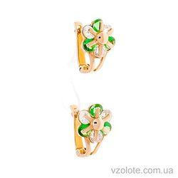 Золотые серьги Цветочки с бело-зелеными фианитами (арт. 353130з)