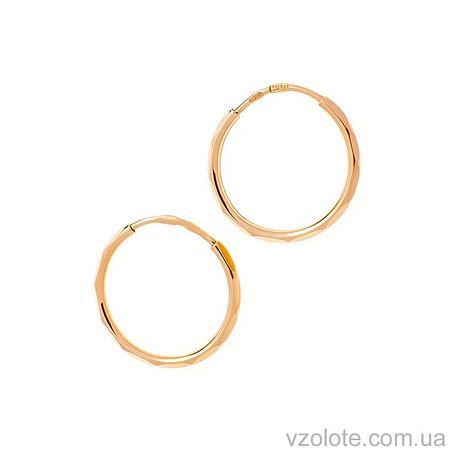 Золотые серьги-колечки с огранкой (арт. 346110)