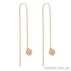 Золотые серьги-цепочки с фианитами двусторонние (арт. 22009601)