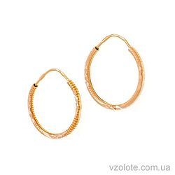Золотые серьги-колечки рифленые (арт. 301135)