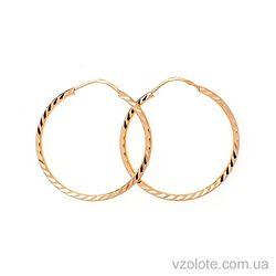 Золотые серьги-кольца с алмазной огранкой (арт. 340190)