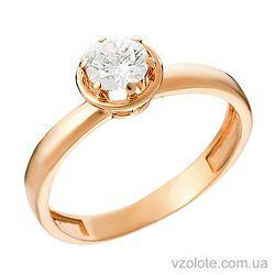 Золотое кольцо с фианитом (арт. 140590)