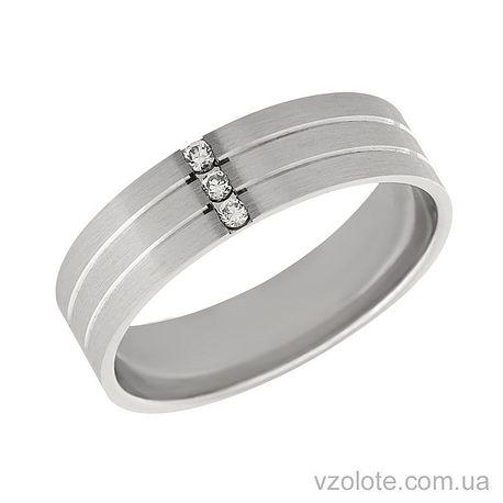 Обручальное кольцо матовое из белого золота с бриллиантами (арт. Ева)