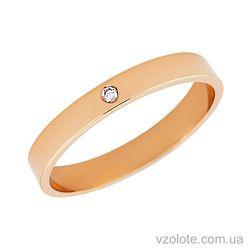 Золотое обручальное кольцо классическое Американка с бриллиантом (арт. 10103-1-1бр)