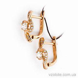 Золотые серьги с фианитами (цирконием) (арт. 21257к)