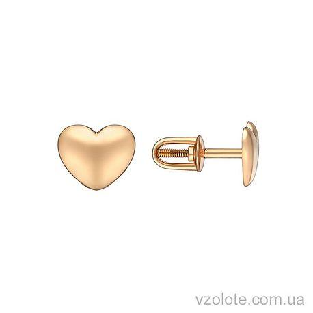 Золотые пусеты Сердечки (арт. 2004218101)
