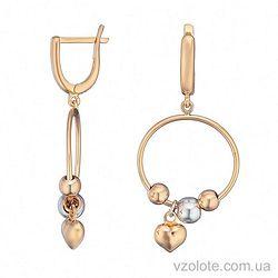 Золотые серьги с подвесками бусинами Сердечко (арт. 2004657112)