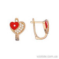 Золотые серьги с фианитами Сердечки с красной эмалью (арт. 2104923101)