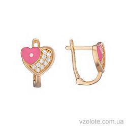 Золотые серьги с фианитами Сердечки с розовой эмалью (арт. 2104923101р)