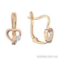 Золотые серьги с фианитами Love is (арт. 2105346101)