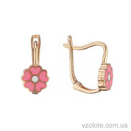 Золотые серьги Примула с розовой эмалью (арт. 2105349101)