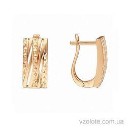 Золотые серьги с насечкой (арт. 2091321101)