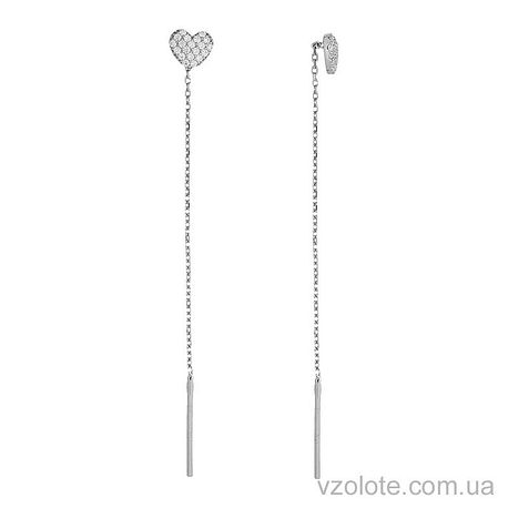 Серьги протяжки из белого золота Сердечки с фианитами (арт. 2103017102)