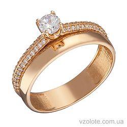 Золотое кольцо Элика с фианитами (арт. 1104263101)