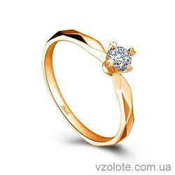 Золотое помолвочное кольцо с бриллиантом Princess (арт. ERDH54) 3/3