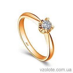 Золотое помолвочное кольцо с бриллиантом Queen Flower (арт. ERDH65) 3/3