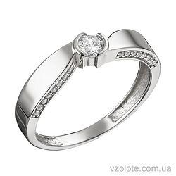 Кольцо Флора в белом золоте с фианитами (арт. 1105234102)
