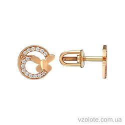 Золотые пусеты с фианитами Вета (арт. 2104255101)