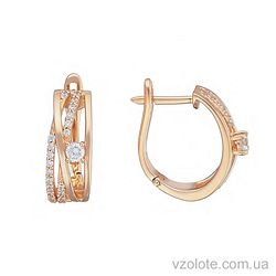 Золотые серьги с фианитами Рина (арт. 2104835101)