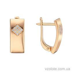 Золотые серьги пластины с фианитами Зарина (арт. 2104838101)