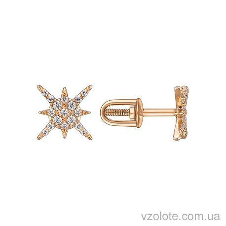 Золотые пусеты с фианитами Искра (арт. 2104936101)