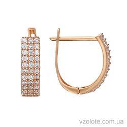Золотые серьги с фианитами Адель (арт. 2105059101)