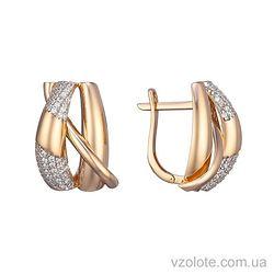 Золотые серьги с фианитами Мэган (арт. 2191276101)