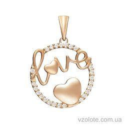 Золотой подвес Love с фианитами (арт. 3103844101)