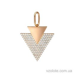 Золотой подвес Треугольник с фианитами (арт. 3104878101)