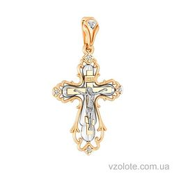 Золотой крест с фианитами (арт. 501097)