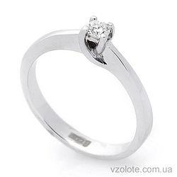 Помолвочное кольцо с бриллиантом из белого золота (арт. кб0155)