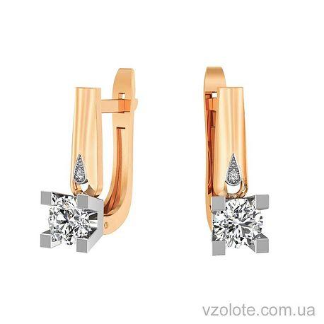 Золотые серьги с фианитами (арт. 111016)