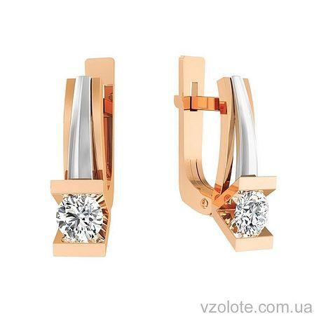 Золотые серьги с фианитами (арт. 111044)
