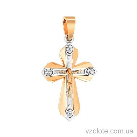Золотой крест с фианитами (арт. 501640)