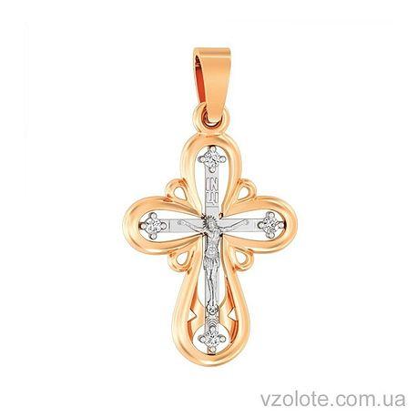 Золотой крест с фианитами (арт. 501645)