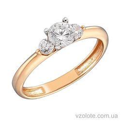 Золотое кольцо с фианитами Ази (арт. 1191125101)