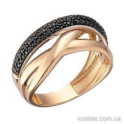 Золотое кольцо с черными фианитами Кати (арт. 1191278101ч)