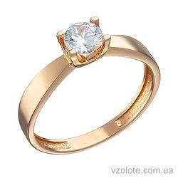 Золотое помолвочное кольцо с фианитом (арт. 1191328101)