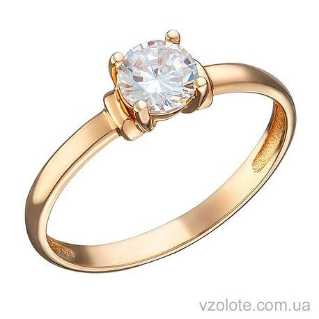 Золотое помолвочное кольцо с фианитом Лэри (арт. 1191331101)