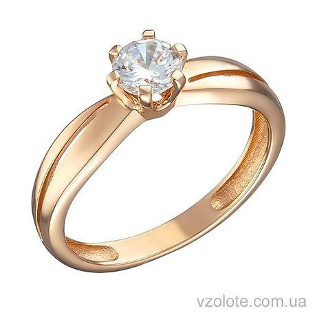 Золотое помолвочное кольцо с фианитом (арт. 1191332101)