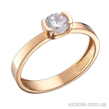 Золотое помолвочное кольцо с фианитом (арт. 1191360101)