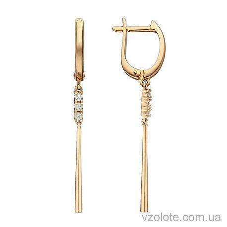 Золотые серьги с подвесками с фианитами (арт. 2104165101)
