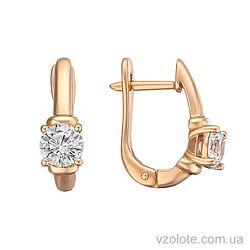 Золотые серьги с фианитами Лэри (арт. 2191331101)