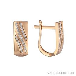 Золотые серьги с фианитами Аира (арт. 2191353101)