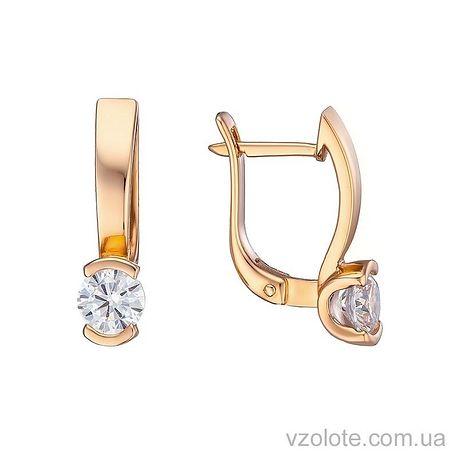 Золотые серьги с фианитами (арт. 2191360101)