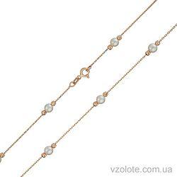 Золотое колье с подвесками бусинами и жемчугом (арт. 7104929101)