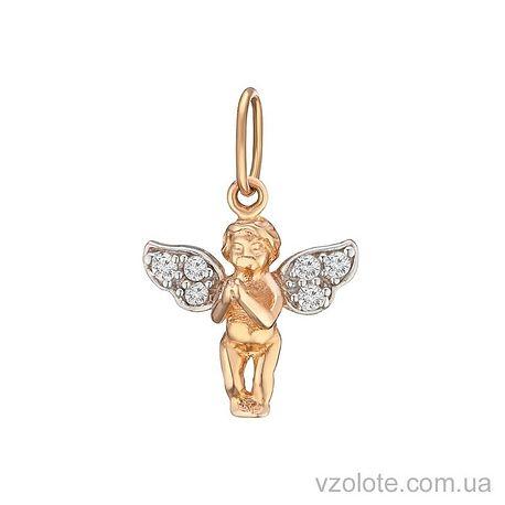 Золотой подвес Ангелок с фианитами (арт. 3105031101)