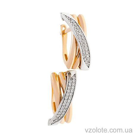 Золотые серьги с фианитами Виолет (арт. 2191423112)