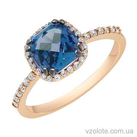 Золотое кольцо с лондон топазом (арт. 1191068101т)